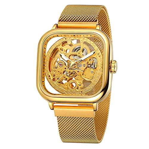 Montloxs Reloj Cuadrado para Hombre, mecánico, Acero Inoxidable, Esqueleto, Impermeable, automático, Esfera automática, Reloj de Pulsera con Pantalla Luminosa