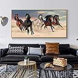Pintura al óleo moderna de caballos en blanco y negro, impresión HD en lienzo, póster, cuadro artístico de pared para sala de estar, sofá, Cuadros 50x100 CM (sin marco)