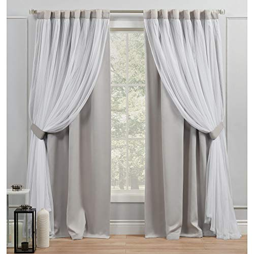 Exclusive Home Curtains Catarina Layered Solid Blackout and Sheer Hidden Tab Top Curtain Panels, 52x96, Cloud Grey