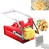 LANGYINH French Fries Slicer Potato Chipper Cutter Chopper Machine with 2 Stainless Steel Blades - Professional Grade