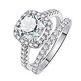 SHELOVES 2.5 CARATS Wedding Rings Set White Cushion CZ Sterling Silver-Engagement Bridal Set Siz 5