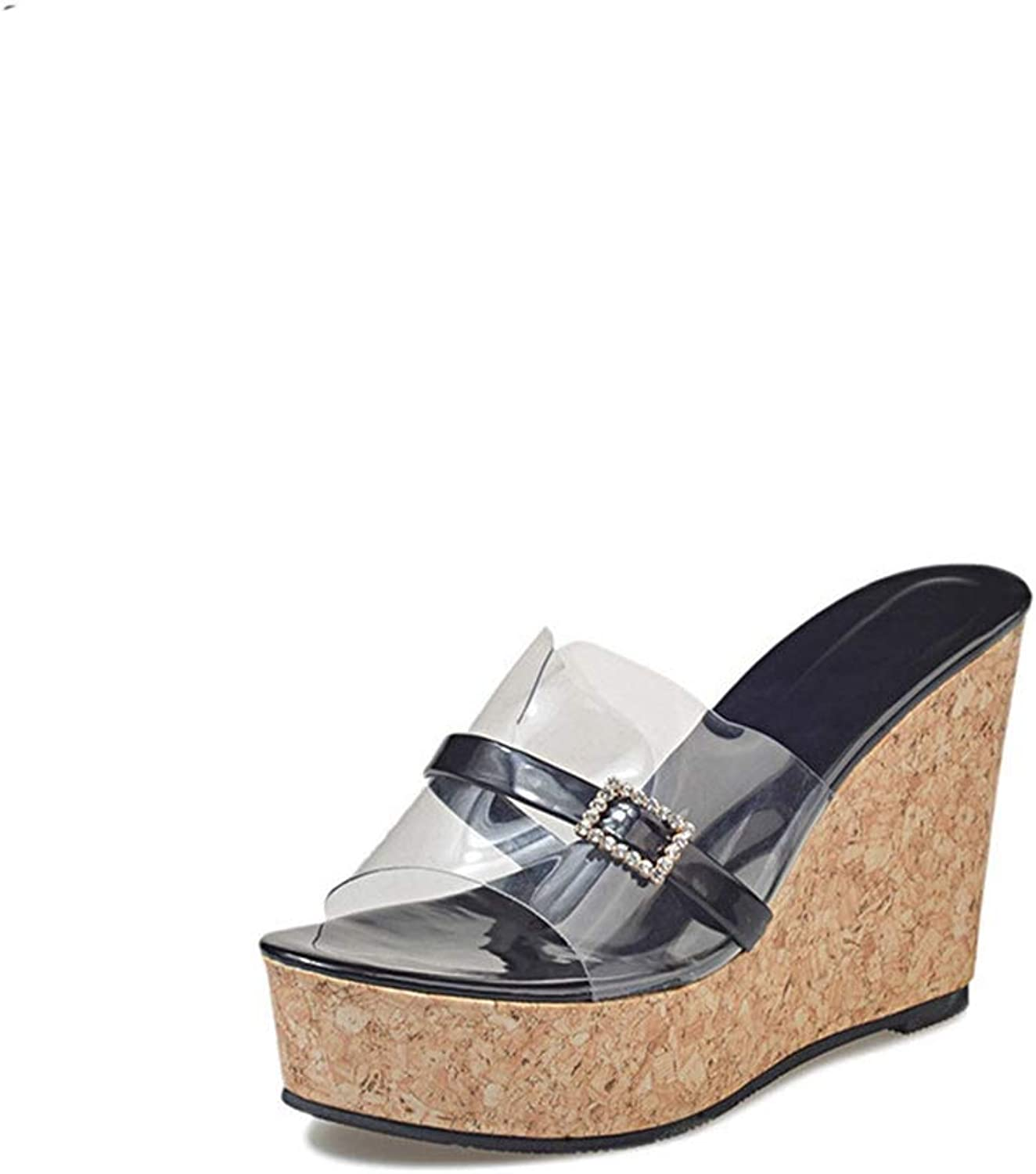 Zarbrina Womens Wedges Sandals Sexy Transparent Platform shoes Shining Rhinestone High Heels Comfort Non-Slip Sole Summer Beach Wears