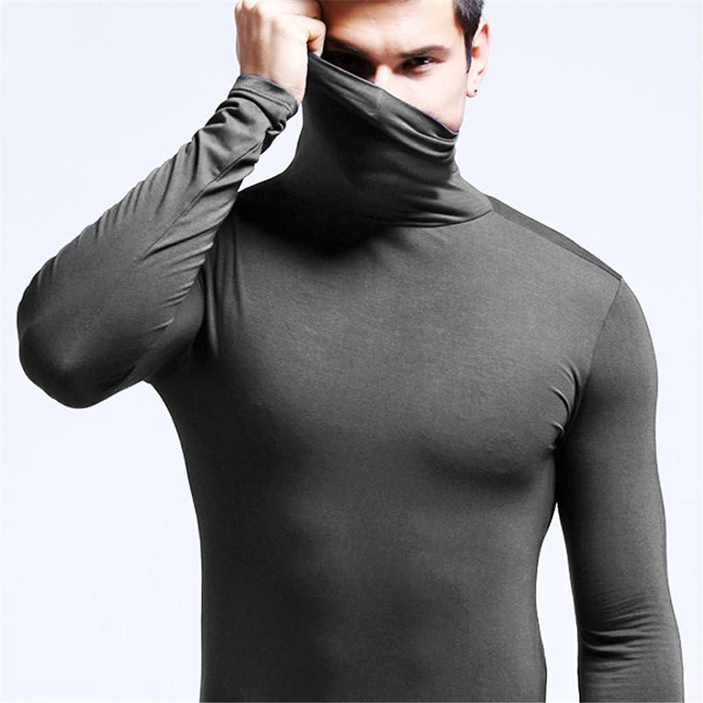 SLATIOM Men's Solid Thermal Underwear Autumn Winter Turtle Neck Tops High Collar Slim Tshirts Long Sleeve Slim Fit Warm Tops (Color : C, Size : XXXL code)