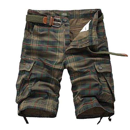 IDEALSANXUN Men's Plaid Cargo Shorts Multi-Pockets Short Cargo Pants (42, Army Green)