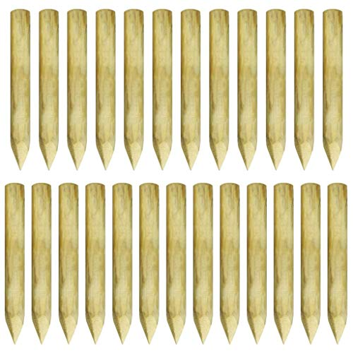 vidaXL 25x Beetumrandung Palisaden Beeteinfassung Rasenkante Holzpalisaden Palisadenzaun Zaunpfahl Gartenpalisade Imprägniertes Kiefernholz 5x40cm