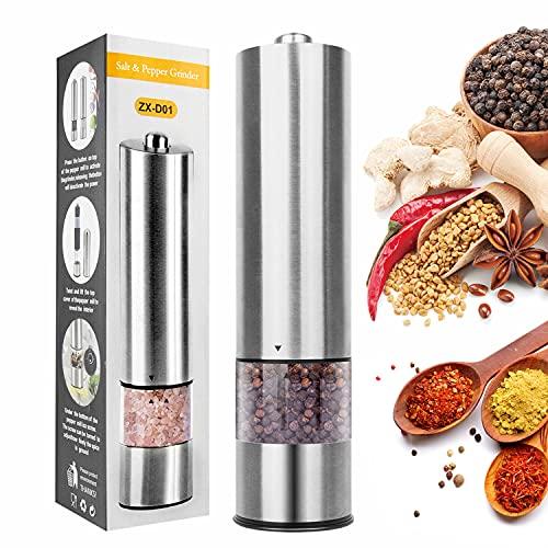 Prechen Moulin à poivre , moulin à épices avec lumière LED, moulin à poivre en acier inoxydable, moulin à sel grossier et fin réglable pour le poivre