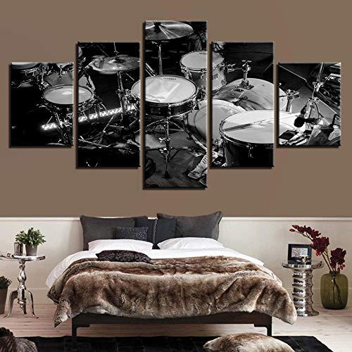 SGJKG Lienzo de Arte de Pared imágenes modulares Impresiones HD 5 Piezas Pinturas de Instrumentos Musicales Carteles de Tambores en Blanco y Negro Sala de Estar decoración del hogar