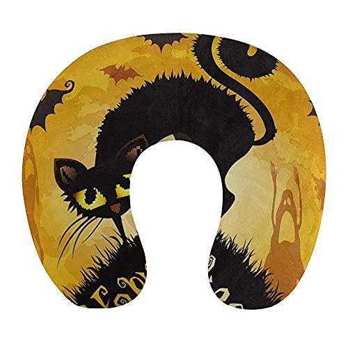 Almohada de Cuello de Gato Negro de Halloween cómoda y Transpirable, Almohada de Viaje en Forma de U de Espuma viscoelástica Suave para avión, Oficina en casa, Coche