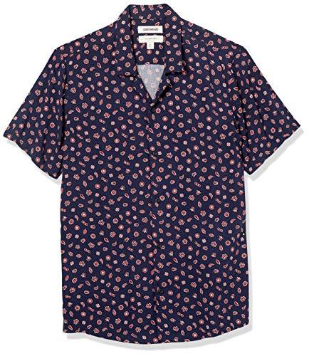 Goodthreads Camisa Hawaiana de Manga Corta con Cuello de Campamento, Azul Marino/Rojo, Patrón, M