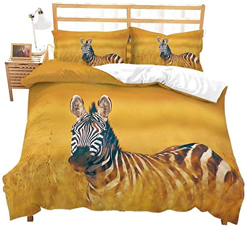 Dvvseso 3D Yellow grassland animal zebra landscape Bedding Set Duvet Cover Set Pillowcase Bed Linen Bedclothes for Kids Adults Twin Full Queen King Size King size 240 x 220 cm -Duvet cover boy beddi
