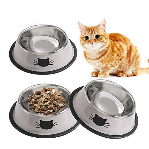 SKRTUAN Katzennäpfe, 3 Stück Futternapf Katze,Edelstahl Futternapf, rutschfeste Katzenschale, Futterschüssel Katze, Wasser Fütterung Schüssel, Edelstahl napf