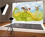 Fantasía telón de fondo de vinilo para fotografía, caballero Don Quijote con caballo en el valle del dragón medieval de cuento de hadas para bebé, cumpleaños, boda, estudio, fotografía.
