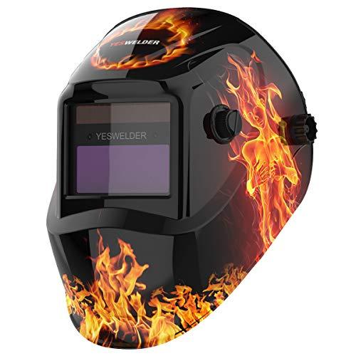 YESWELDER True Color Solar Powered Auto Darkening Welding Helmet, Wide Shade 4/9-13 Welder Mask Weld Hood for TIG MIG ARC