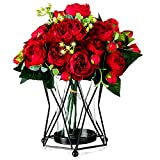 Schwarzer Kerzenhalter für Stumpenkerzen, Geometrischer Stumpenkerzenhalter aus Metall, Blumenglasvase Mittelstücke für Weihnachten Halloween Hochzeit zu Hause Couchtische Dekor, Einweihungsgeschenke