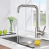 WOOHSE 360° Drehbar Wasserhahn Küche, Küchenarmatur Edelstahl Spültischarmatur mit hoher Auslauf...