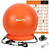 SpoxFit Exercise Ball Chair with Resistance Bands, Perfect for Office, Yoga, Balance, Fitness, Super Strong...