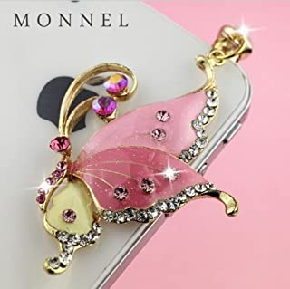 IP79b Cute New Design Pink Bling Bling Butterfly Cell Phone Charm Dust Proof Plug