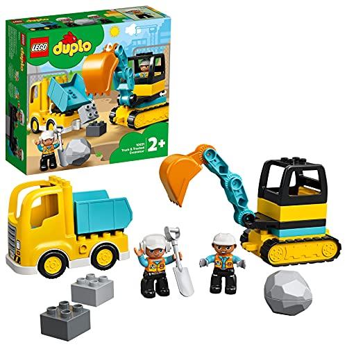 LEGO 10931 Duplo Le Camion Et La Pelleteuse, Engin de Chantier Jouet pour Les Enfants De 2 Ans et + pour Améliorer Leur Motricité Fine