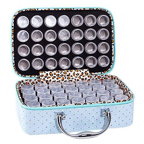 Caja de almacenamiento con 56 cuadrícula de diamantes de imitación para pintura y mosaico, herramienta con botellas de dos capas, maleta cuadrada