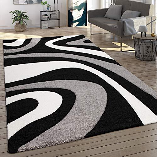 Alfombra Salón Pelo Corto Moderno Efecto 3D Diseño Ondas Estilo Abstracto, tamaño:200x290 cm, Color:Negro
