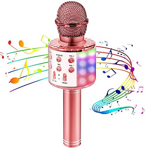 Mikrofon für Kinder, Kindermikrofon zum Singen mit LED-Lichtern, drahtloses Bluetooth karaoke Mikrofon mit Lautsprecher, tragbarem Kinder-Karaoke-Maschine für Android/iOS/PC/Smartphone