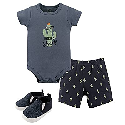 Hudson Baby Unisex Baby Cotton Bodysuit, Shorts and Shoe Set, Cactus, 3-6 Months from Hudson Baby