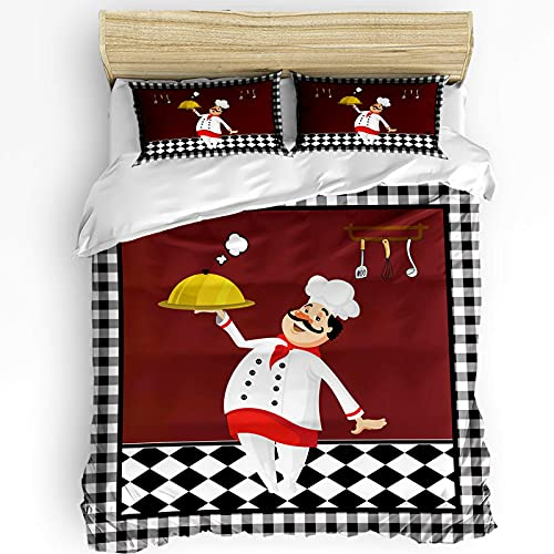 Fadaseo Microfiber 3pcs Bedding Duvet Cover Set Black and White Checkered Kitchen Chef Food Knife and Fork Smooth Soft & Comfortable Duvet Cover Set with Zipper Closure