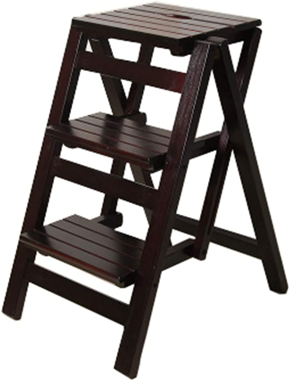 Folding Step Stool Stair Chair Seats Wooden Ladder Shelf Stepladder Dual-use Climb 3-layer pedal Multifunction Portable Flower Rack Kitchen Indoor Home