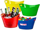 Zilpoo 4 Pack - Oval Storage Tub with Handles, Colorful Halloween Candy Bowl Holder, Classroom Organization Bins, Plastic Ice Bucket, Tubs, Baskets, 4.5L, Assorted Colored