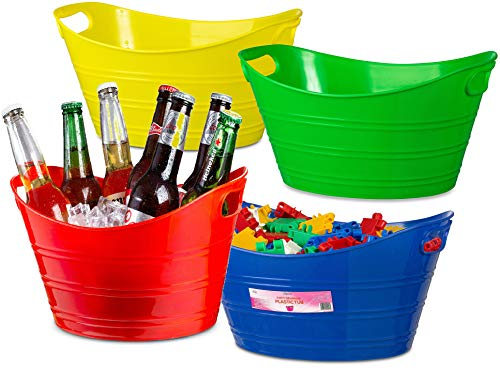 Zilpoo 4 Pack - Oval Storage Tub with Handles, Colorful Halloween Candy Bowl Holder, Classroom Organization Bins, Plastic Ice Bucket, Tubs, Baskets, 4.5L