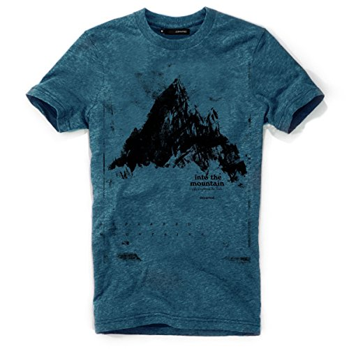DEPARTED Herren T-Shirt mit Print/Motiv 3855-270 - New fit Größe L, Pacific Breeze Teal Melange