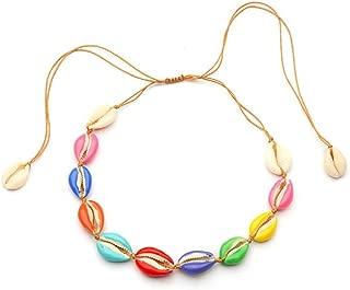 RAMONGGU Natural Shell Choker Necklace, Handmade Rope Pearl Hawaii Beach Necklace Jewelry for Women Girls