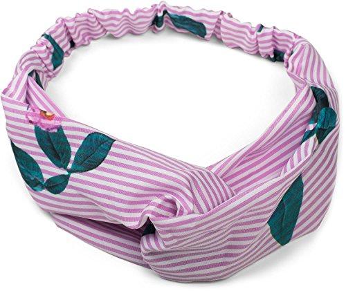 styleBREAKER Damen Haarband gestreift mit Twist Knoten, Blumen und Gummizug, Stirnband, Headband, Haarschmuck 04026013, Farbe:Rosa-Weiß
