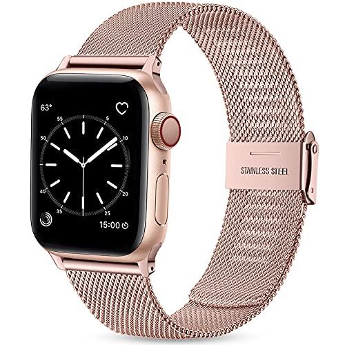 Wepro Ersatzarmband Kompatibel mit Apple Watch Armband 41mm 40mm 38mm für Damen/Herren, Mesh Geschäft Metall Uhrenarmband für Apple Watch SE/iWatch Series 6 5 4 3 2 1, 41mm 40mm 38mm/RoséRosa