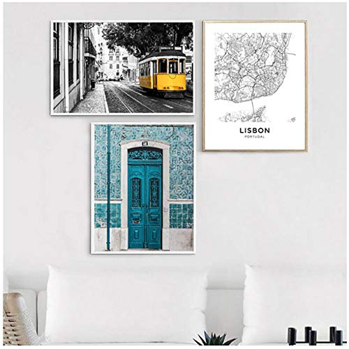 Mulmf Lissabon Portugal Stad Kaart Poster Prints Portugese Tegels Blauwe Deur Vintage Muur Kunst Canvas Schilderen Stad Home Decor- 50X70Cmx3 Unframed