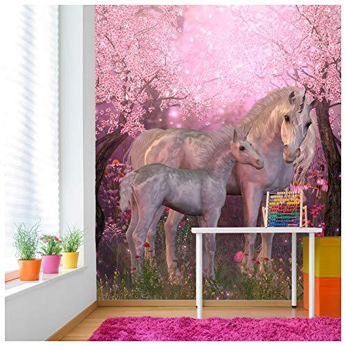 azutura Märchen-Einhorn Fototapete Rosa Kirschblüte Tapete Mädchen Dekor Erhältlich in 8 Größen Riesig Digital