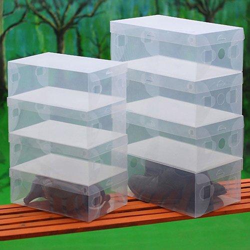 Dragonaur - Juego de 10 cajas de almacenamiento de zapatos de plástico transparente, apilables, transparentes, para cajones, guardarropa y guardarropa, color al azar