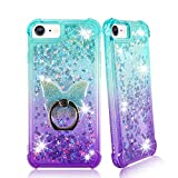 Zase Designed for iPhone SE 2020 for iPhone 8/7 (4.7 inch) Liquid Glitter Sparkle Cute Case Girls 3D Waterfall Floating Butterflies Quicksand Shockproof w/Phone Ring Stand (Gradient Aqua Purple)