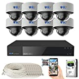 8 Channel 4K NVR 8 Megapixel H.265 4K Security Camera System, 8 Built-in Microphone Audio Recording HD 2160P 4K IP PoE Dome Cameras, AI Intelligence Surveillance, QR-Code Connection