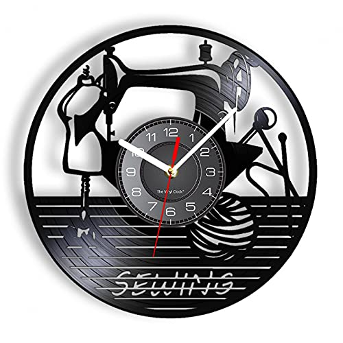 XYVXJ Me Encanta Coser Reloj de Pared, máquina de Coser, Reloj de Pared, decoración artística de Vinilo para sastrería
