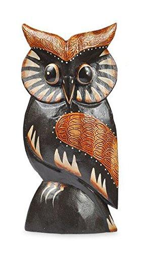 Deko Figur Eule Wula schwarz braun aus Albesia Holz, Höhe 15 cm groß, Holzfigur Uhu Kunsthandwerk aus Bali handgefertigt