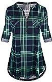 Odosalii - Camisa de manga corta con cuello en V para mujer,