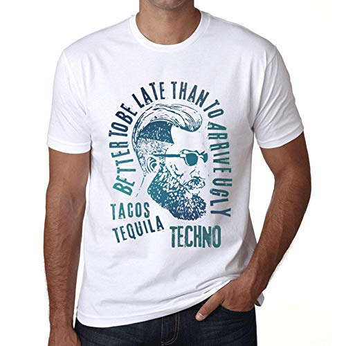 Hombre Camiseta Vintage T-Shirt Gráfico Tacos, Tequila and Techno Blanco