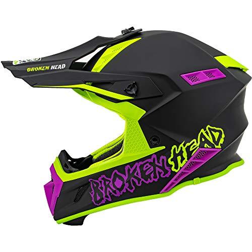 Broken Head The Hunter - Ultra leichter Motocross & Enduro Helm für Profis - Light Grün Pink - Größe M (57-58 cm)