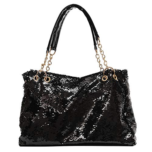 QTKJ Fashion Two Tone Reversible Sequin Tote Bag Zipper Shoulder Bag with Chain and Leather Straps (Black)