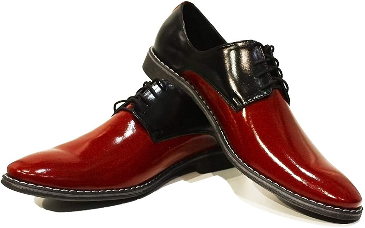 Modello Viareggio - Handmade Italian Leather Mens color Red Oxfords Dress shoes - Cowhide Patent Leather - Lace-Up