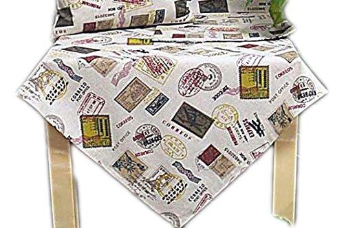 Hossner Tischdecke 85x85 cm Postcard Ecru Tischläufer Zierdecke Decke Bunt Vintage (85 x 85 cm)