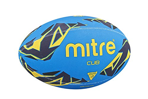 Mitre Cub Training Rugby Ball - Blue/Navy/Yellow, Size 3