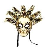 YU FENG Máscara veneciana pintada a mano de cara completa de bufón Jolly Joker para pared,...