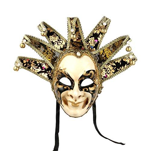 YU FENG Máscara veneciana pintada a mano de cara completa de bufón...